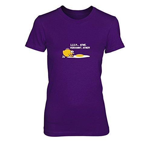 Atme verdammt - Damen T-Shirt, Größe: L, Farbe: lila