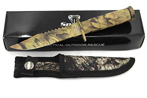 Snake Eye Tactical Serrated Blade 8.5 Inch Survival Knife Heavy Duty Stainless Steel with Kit & Nylon Sheath (Camouflage)
