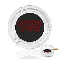 Cannibal Corpse 灰皿 アッシュトレイ ガラス材 おしゃれ 煙草 喫煙 プレート 卓上 カフェ スタイル 透明 マルチ アクセサリー 雑貨 メンズ レディース 防風設計 家 オフィス