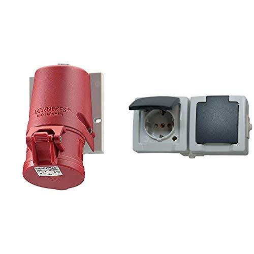 Mennekes 101100102 31 CEE-Steckdose 5p 16A 6h 400V/rt IP44 AP Rot & Kopp Nautic Steckdose für Feuchtraum, Aufputz, 250V (16A), 2-fach Schutzkontakt-Steckdose, grau, 137056002