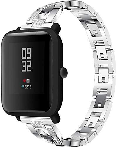 Classicase Correa de Reloj de Metal Compatible con Galaxy Watch Active/Active 2 / Active 3 / Watch 42mm, Correa de Reloj de Metal de Acero Inoxidable Banda de Repuesto (20mm, Pattern 3)