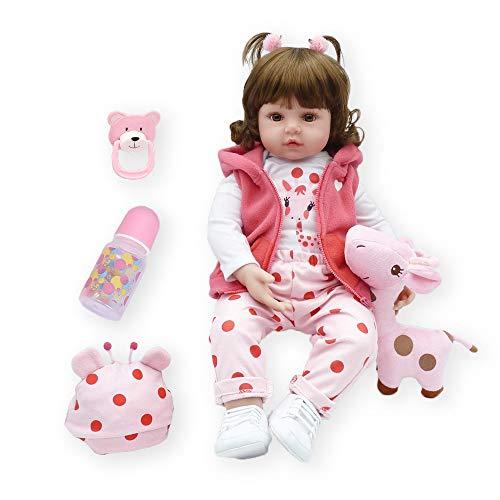 Pinky 18Inch 45cm Lifelike Reborn Baby Girl Dolls Soft Silicone Babies Realistic Looking Newborn Baby Dolls Cute Reborn Doll Toddler Handmade Child Birthday and Xmas Gift