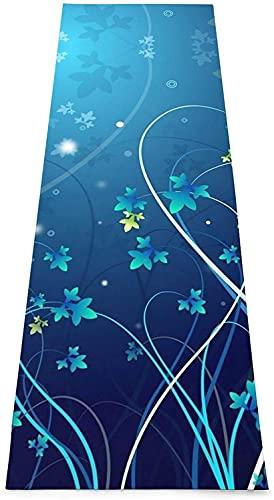 Yoga Kit Graphic Yoga Mat Esterilla de yoga antideslizante impresa Esterillas de ejercicio y fitness para yoga, pilates, ejercicio de equilibrio, etc. (70 x 24 x 0,2 pulgadas) - Blue Flower Swirl