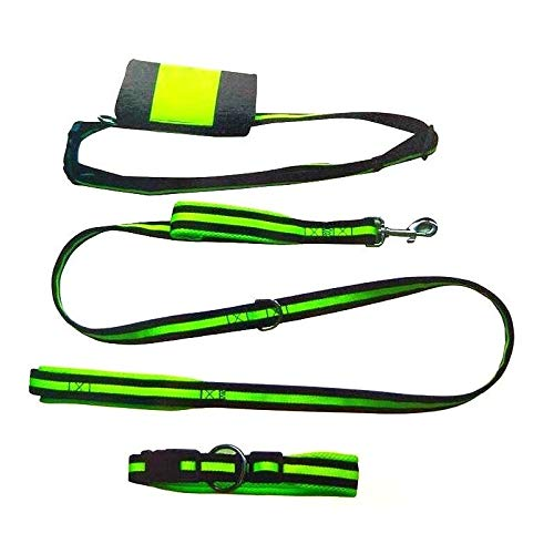 iPet Pack Ahorro de CANICROSS de 4 Piezas: Collar, Correa Manos Libres y Cinturón con Bolsa | Set canicross