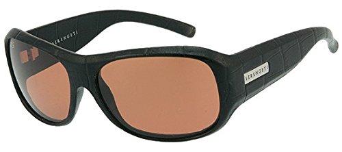 Serengeti Savona Black Genuine Leather Sonnenbrille, Farbe Objektiv-Linse Drivers, Gruppe 2–3, Schwarz