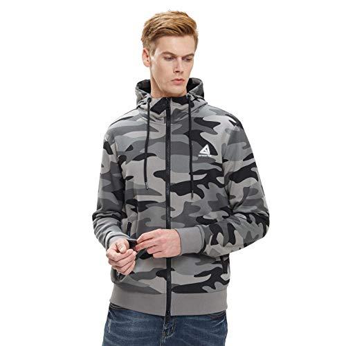 Extreme Pop Uomo Felpa con Cappuccio Full Zip Felpe Giacca Mimetica con Stampa Riflettente UK Brand (M, Grigio Mimetico)