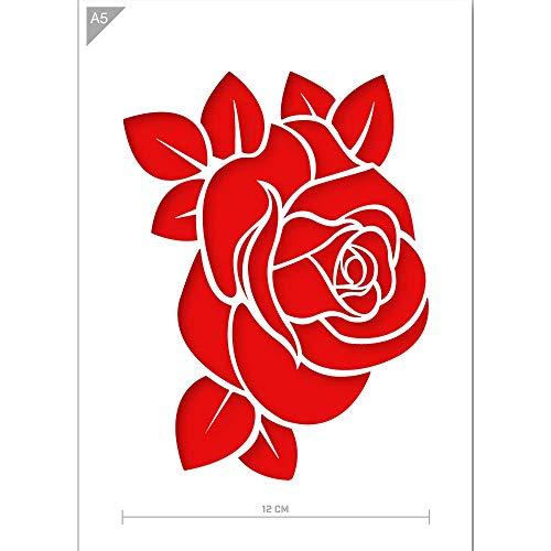 QBIX Rose Schablone - Rose Knospe Schablone - Blume Schablone - Blätter Schablone - A5 Größe - Wiederverwendbare Kinder freundlich DIY Schablone zum Malen, Backen, Basteln, Wand, Möbel