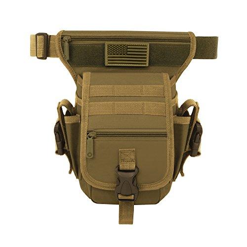 East West U.S.A RT519 Tactical Thigh Pack Waist Belt Drop Leg Utility Bag, Tan