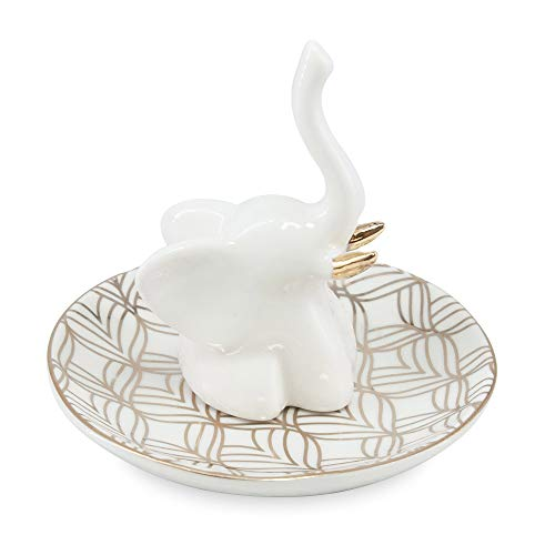 Limerence Elephant Jewelry Holder Dish - Ceramic Ring Holder for Jewelry - Great Elephant Gifts for Women, Girls - Unique Birthday or BFF Gifts for Elephant Lovers