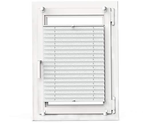 OBdeco Plissee Rollo Klemmfix ohner Bohren lichtdurchlässig Crushed Optik Faltrollo für Fenster Easyfix Weiß 70x130cm