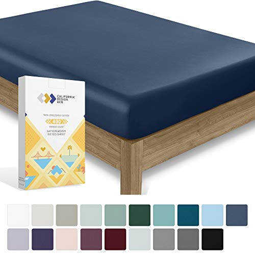 California Design Den 400 Thread Count Twin XL Size Indigo Navy Blue Fitted Sheet - 100% Cotton 1 Pc Bottom Fitted Sheet Only, Long Staple Combed Pure Cotton Bedsheet, Lightweight, Soft Sateen Weave