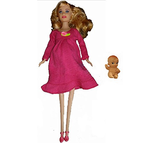 Real pregnant doll mom doll have a baby in her tummy with shoe