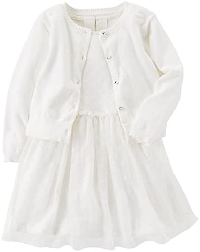Carter s girls Special Occasion Dress With Cardigan T Shirt White 5T US product image