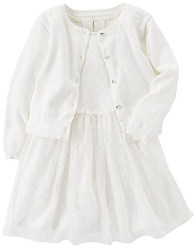 Carter's Girls' Toddler Special Occasion Dress with Cardigan, White, 2T
