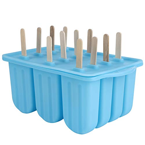 Molde de cubos de gelo, bandeja de sorvete, fabricante de sorvete de silicone de grau alimentício, utensílio de cozinha Seguro para residências com 12 grades ecologicamente correto