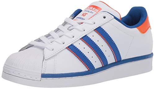adidas Originals Men's Super Star Sneaker, White/Blue/Orange, 12