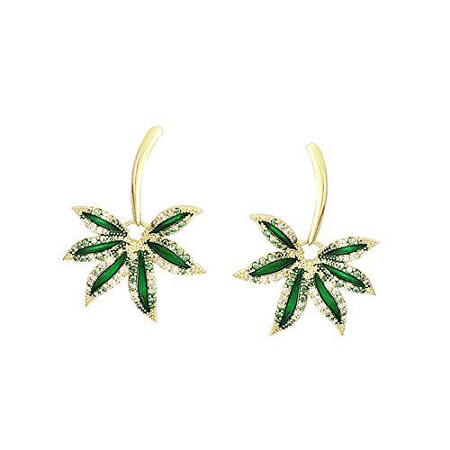Pendientes verdes de aguja de plata 925, pendientes de hoja de diamantes de imitación con personalidad, pendientes de moda para mujer