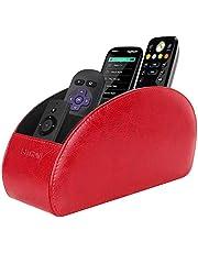 حامل جهاز التحكم عن بعد من سيثون مع 5 حجرات - حقيبة من جلد البولي يوريثان لتنظيم سطح المكتب مع جهاز تحكم عن بعد، تلفزيون DVD، بلو راي، مشغل وسائط وأذرع تحكم في السخونة، لون أحمر