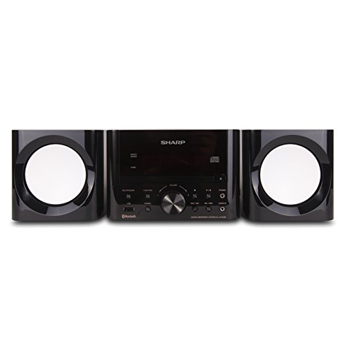 Sharp XL-LS703B-GB Sharp Bluetooth Speaker System (Gloss Black), USB Port for MP3 Playback, Bluetooth Wireless Connection, One Touch with NFC Connection, 50W RMS Power Output, Remote Included