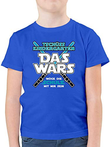 Einschulung und Schulanfang - Das Wars Kindergarten Blau - 140 (9/11 Jahre) - Royalblau - Schulkind t-Shirt - F130K - Kinder Tshirts und T-Shirt für Jungen