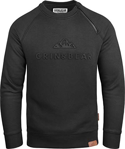 Grin&Bear Herren Crew Neck mit gestempeltem Design Logo schwarz L GEC548
