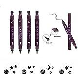 4 PC Double-Ended Eyeliner Stamp Heart/Flower/Moon/Star Shape Cosmetic Seal Stamp Waterproof Long Lasting Eyeliner Pencil Makeup Tool
