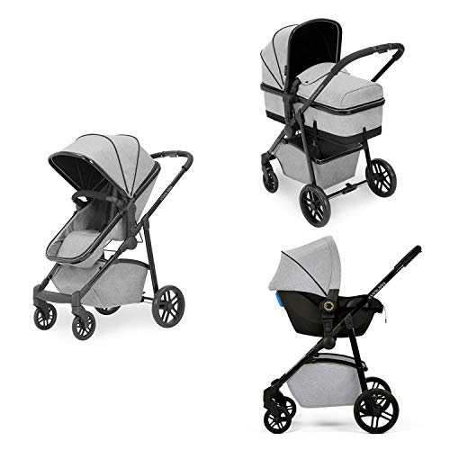 Ickle Bubba Moon 3-in-1 Travel System with Astral Car Seat | Bundle Includes Pushchair, Car Seat (Silver with Black Handles)