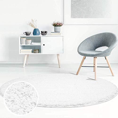 Carpet City ayshaggy Shaggy Teppich Hochflor Langflor Einfarbig Uni Weiß Weich Flauschig Wohnzimmer, Größe: 160 x 160 cm Rund, 160 cm x 160 cm