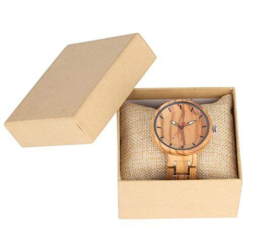 DZNOY Reloj de madera con correa de acero inoxidable para mujer, relojes de madera para hombres, punteros luminosos, esfera concisa, reloj de bolsillo de cuarzo y madera (color con caja)
