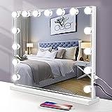 【Regalo del Dia de la Madre】 Espejo Hollywood Veiniya Espejo Maquillaje con luz Ajustable Espejo de Mesa 3 Modos de Bombillas LED Interruptor tocable 58×46cm