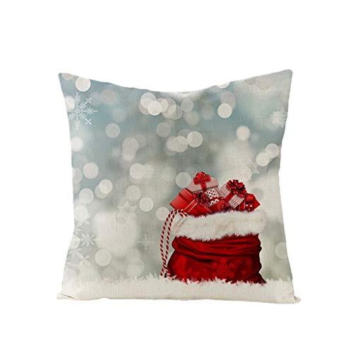 veyikdg - Funda de Almohada de Lino, diseño de muñeco de Nieve, Acuarela Pintada, Navidad, año de felicitación, Estilo Retro, para sofá, Coche, decoración de Navidad, 18 x 18 Pulgadas, B, Talla única