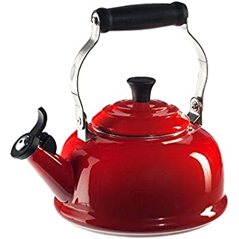 Le Creuset Enamel On Steel Whistling Tea Kettle, 1.7 qt., Cerise