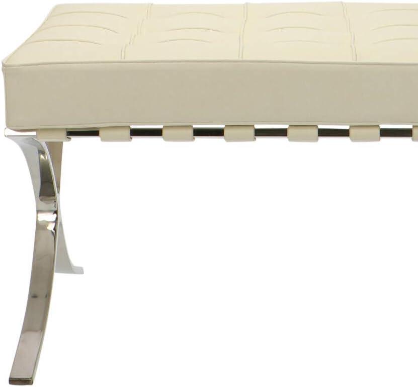 Popfurniture Barcelona Chair Ottoman Fußbank - Hocker aus Kalbsleder und Kunstleder   62 x 57 x 47 cm   Schwarz Créme - 62 X 57 X 47 Cm