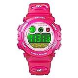 Para la edad 4-12 años de edad impermeable natación congelado reloj deportivo niños niñas Led relojes digitales para niños, correa de goma