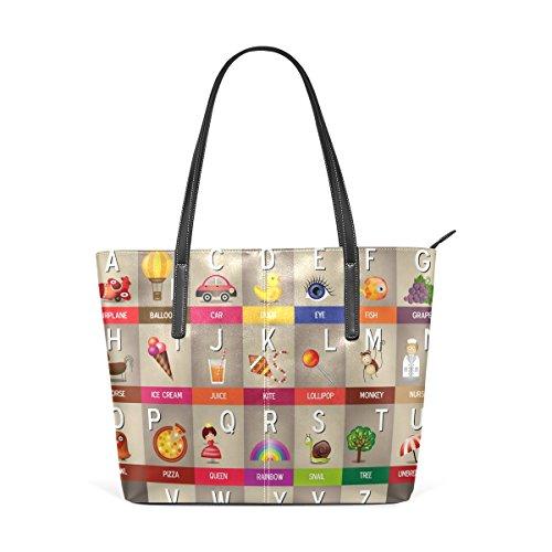 COOSUN Alfabet To Z PU lederen schoudertas portemonnee en handtassen Tote Bag voor vrouwen