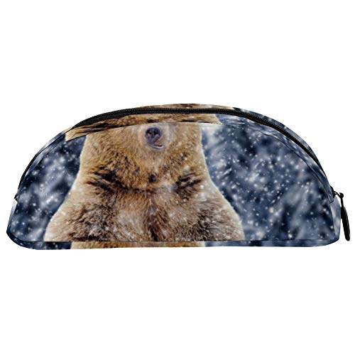 BENNIGIRY, astuccio invernale con orsetto marrone selvatico, grande capacità, portapenne da scrivania, organizer semicerchio per cancelleria, per scuola e ufficio