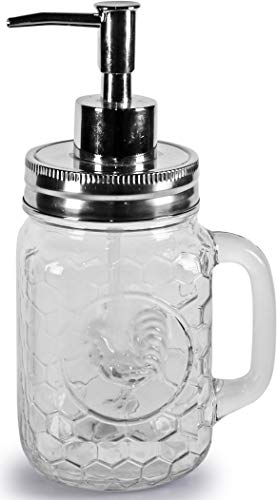 Circleware Hahn-Einmachglas-Spender, Pumpe, Glasflasche mit Deckel, Heimdekoration und Badezimmer-Zubehör für ätherische Öle, Lotionen, Flüssigseifen, 500 ml, transparent