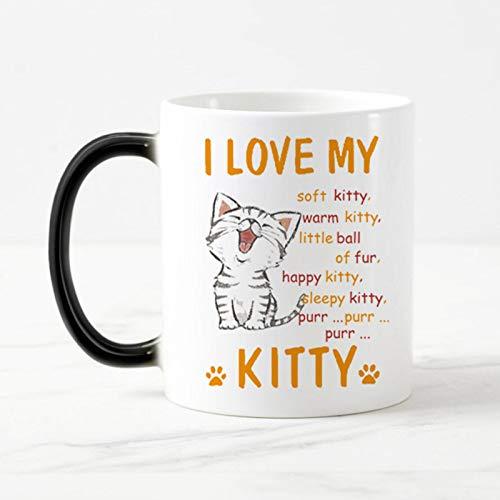 Lonfenner Magique Mug,&Quot;J'aime Mon Kitty&Quot;Cartoon Cat Changer De Couleur Tasses À Café...