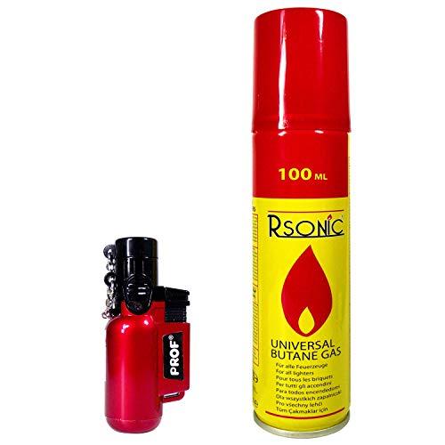 DIPSE Jet Lighter + 100ml Gas zum Nachfüllen! das Ultrakompakte Gasbrenner Feuerzeug hält jedem Sturm stand! Diverse Farben; Wiederaufladbar! Torch Lighter