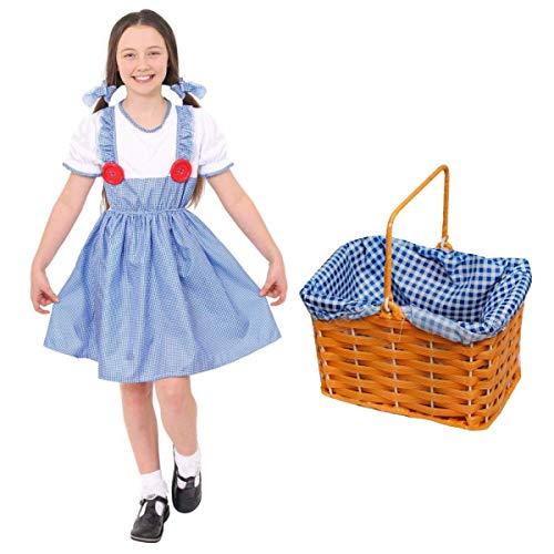 I LOVE FANCY DRESS LTD Disfraz DE Dorothy para NIÑAS. EL Mago DE OZ Disfraz DE Dorothy para DÍA Mundial del Libro/Semana del Libro. Vestido DOROTY + Cintas para EL Cabello + Cesta (Grande)