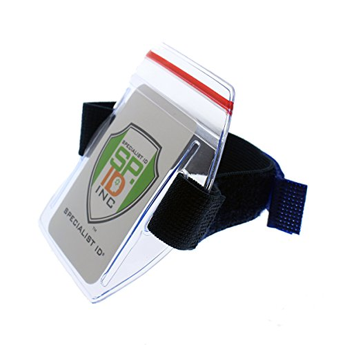 Heavy Duty Water Resistant Armband ID Badge Holder with Resealable Red Zip & Rugged Adjustable Arm Band (Perfect Arm Ski Pass Holder for Lift Ticket) Top Load by Specialist ID