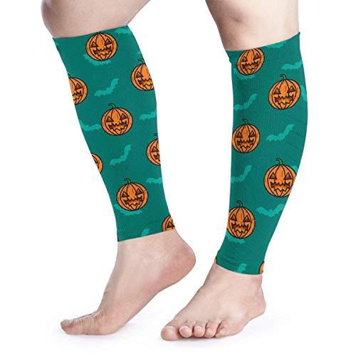Men Women Halloween Pumpkin Bat Calf Compression Sleeve Fashion Leg Support Calf Guards Sleeves Calf Pain Relief for Running