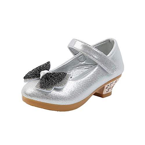 JOEupin Mary Jane - Zapatos de vestir para nia, diseo de flores para damas de honor, zapatos de princesa con purpurina, para nios y nias, color Plateado, talla 27 EU