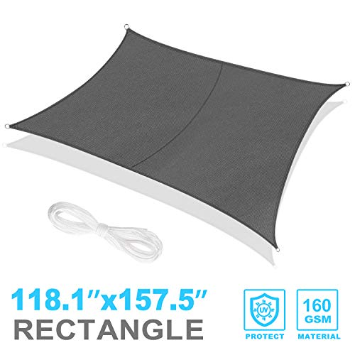 RATEL Sun Shade Sail 4m x 3m Rectangle Grey, Waterproof Awning 95% UV Block Sunscreen Canopy for Outdoor Patio Garden Lawn Pergola Decking