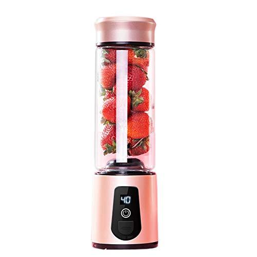 MSQL Licuadora portátil USB Juicer Recargable batidora de Frutas Licuadora de Batidos de Vidrio Personal, Seis Cuchillas, 15 oz, Oro Rosa