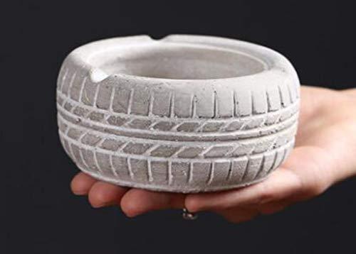 Ving ronde cement asbak met antislip pat retro bandvorm asbak roken asbak woonkamer kantoor salontafel decoraties, wit