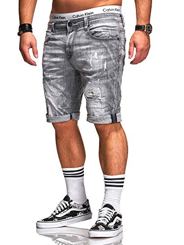 Rello & Reese Rello & Reese Herren Destroy Designer Shorts Jeans Kurze Hose Sommer Bermuda (W38, 1918 (Grau))