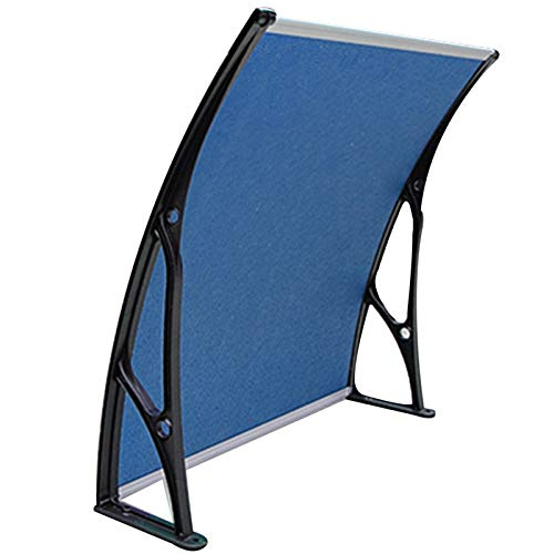 LICHUN Awning Rain Door Canopy, Aluminum Alloy Bracket, Curve Design Mute And Self-cleaning, PC Endurance Board Roof Rain (Color : Blue, Size : 60X120CM)