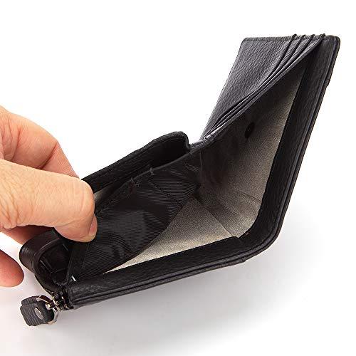DZX Heren Lederen RFID Blokkeren Portemonnee Bruin/Zwart Bi-Fold portemonnee Foto ID, Credit Card/Coin Pouch Zwart