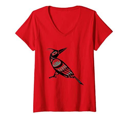 Mujer Signo astrológico indio del pájaro carpintero nativo america Camiseta Cuello V